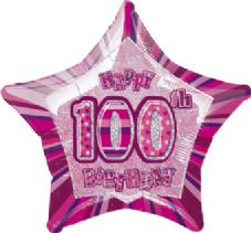 Pink Glitz 'Happy 100th Birthday' Foil Balloon